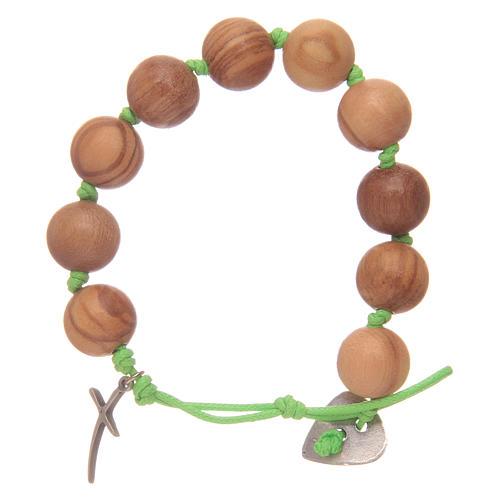 Bracciale decina corda verde grani ulivo e croce 2