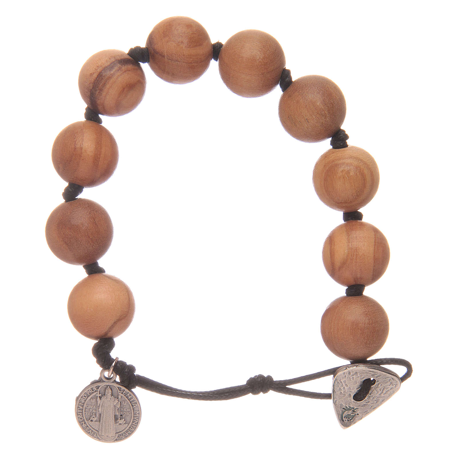Dozen rosary bracelet with wooden grains and a Saint Benedict medalet 4