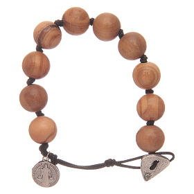 Dozen rosary bracelet with wooden grains and a Saint Benedict medalet s1