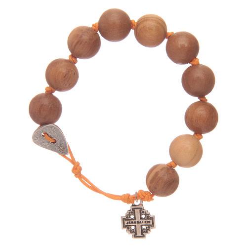 Bracciale decina con grani in legno e Medaglia Croce Gerusalemme 1