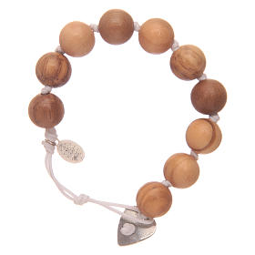 Dozen rosary bracelet with wooden grains and Miraculous medalet s2