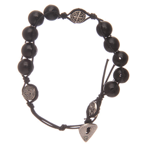 Dozen rosary bracelet in black wood Saint Benedict 1