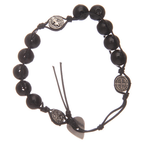 Dozen rosary bracelet in black wood Saint Benedict 2