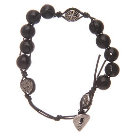 Dozen rosary bracelet in black wood Saint Benedict s1