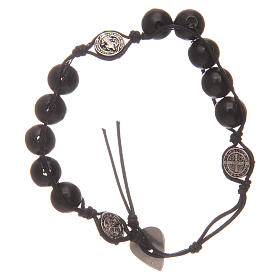 Dozen rosary bracelet in black wood Saint Benedict s2
