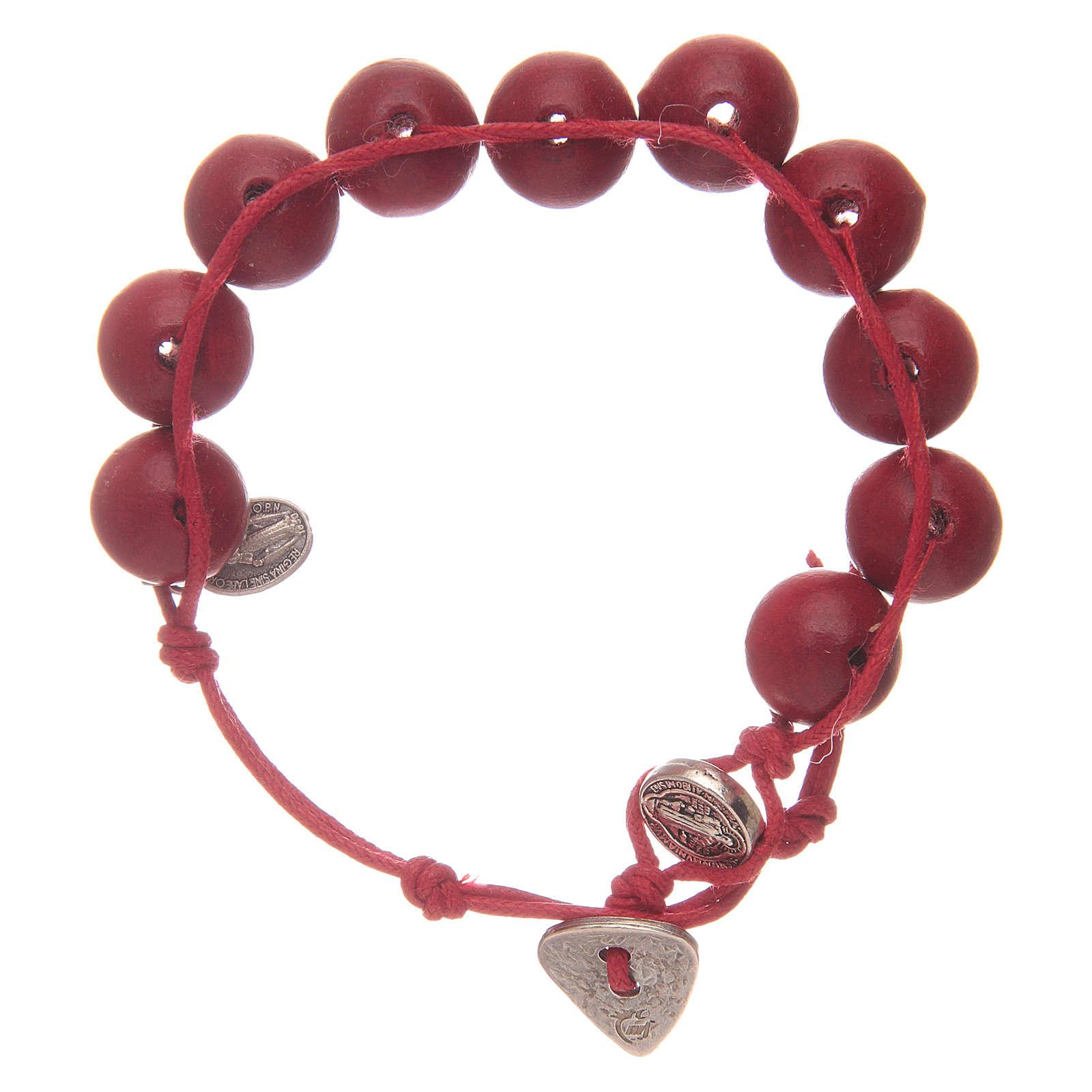 Bracelet dizainier grains rouges 12 mm St Benoît et Miraculeuse 4