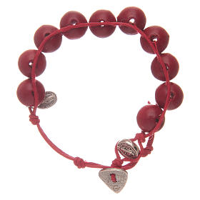 Dozen rosary bracelet with red grains 12 mm and Saint Benedict and MIraculous medalet s1