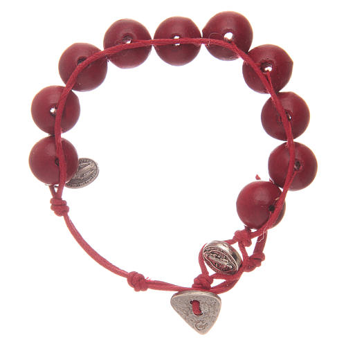 Dozen rosary bracelet with red grains 12 mm and Saint Benedict and MIraculous medalet 1