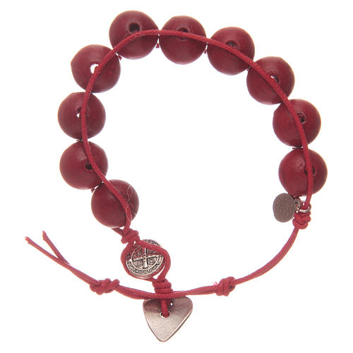 Dozen rosary bracelet with red grains 12 mm and Saint Benedict and MIraculous medalet 2
