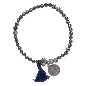 Bracelet with multifaceted hematite grains and Saint Benedict medal s1