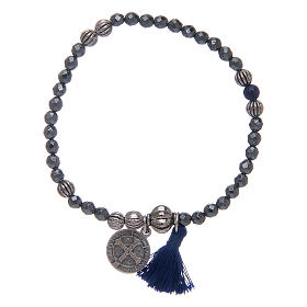 Bracelet with multifaceted hematite grains and Saint Benedict medal s2