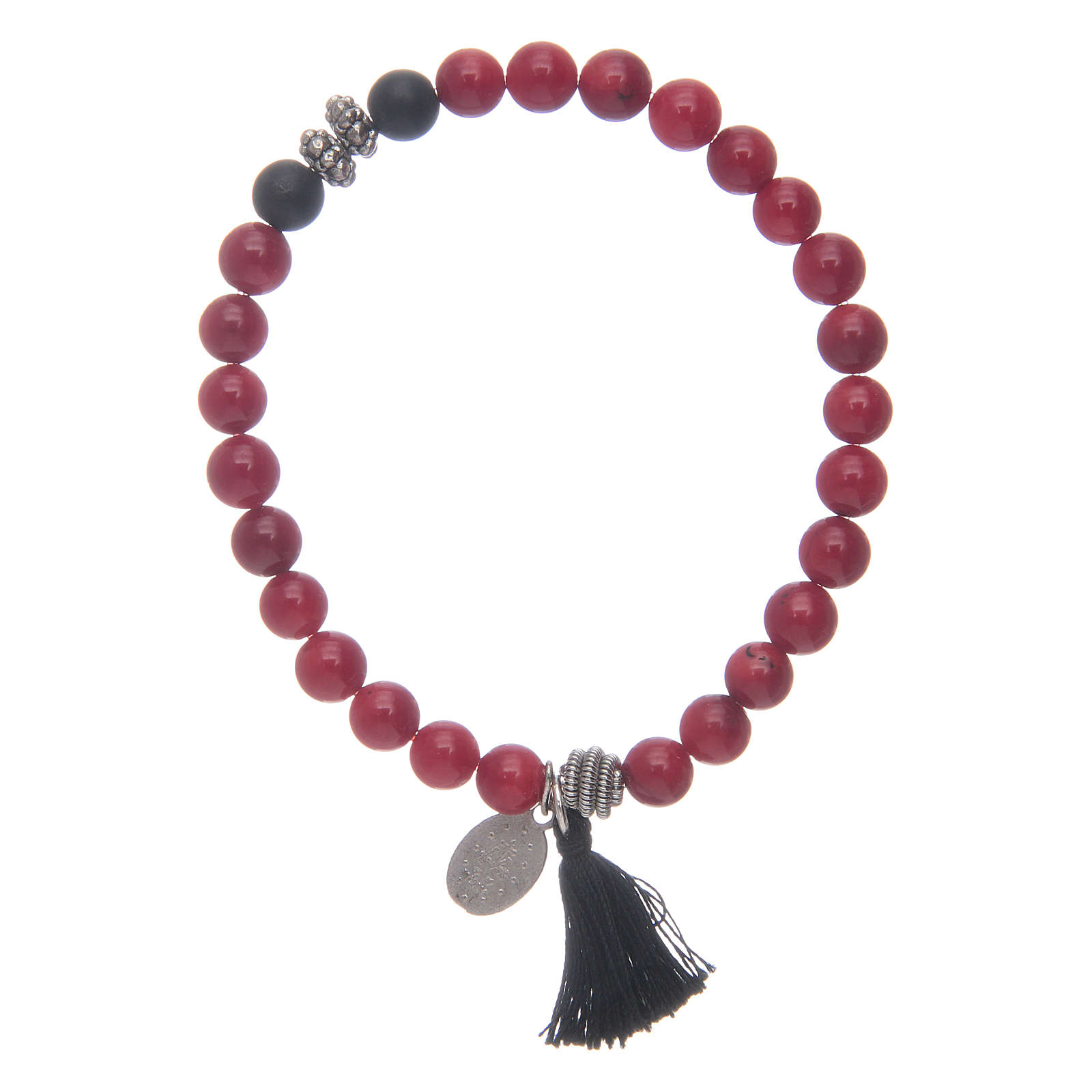 Bracciale con Medaglia Miracolosa e grani colore corallo 4