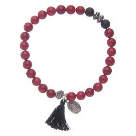 Pulseira com Medalha Milagrosa e contas cor de coral