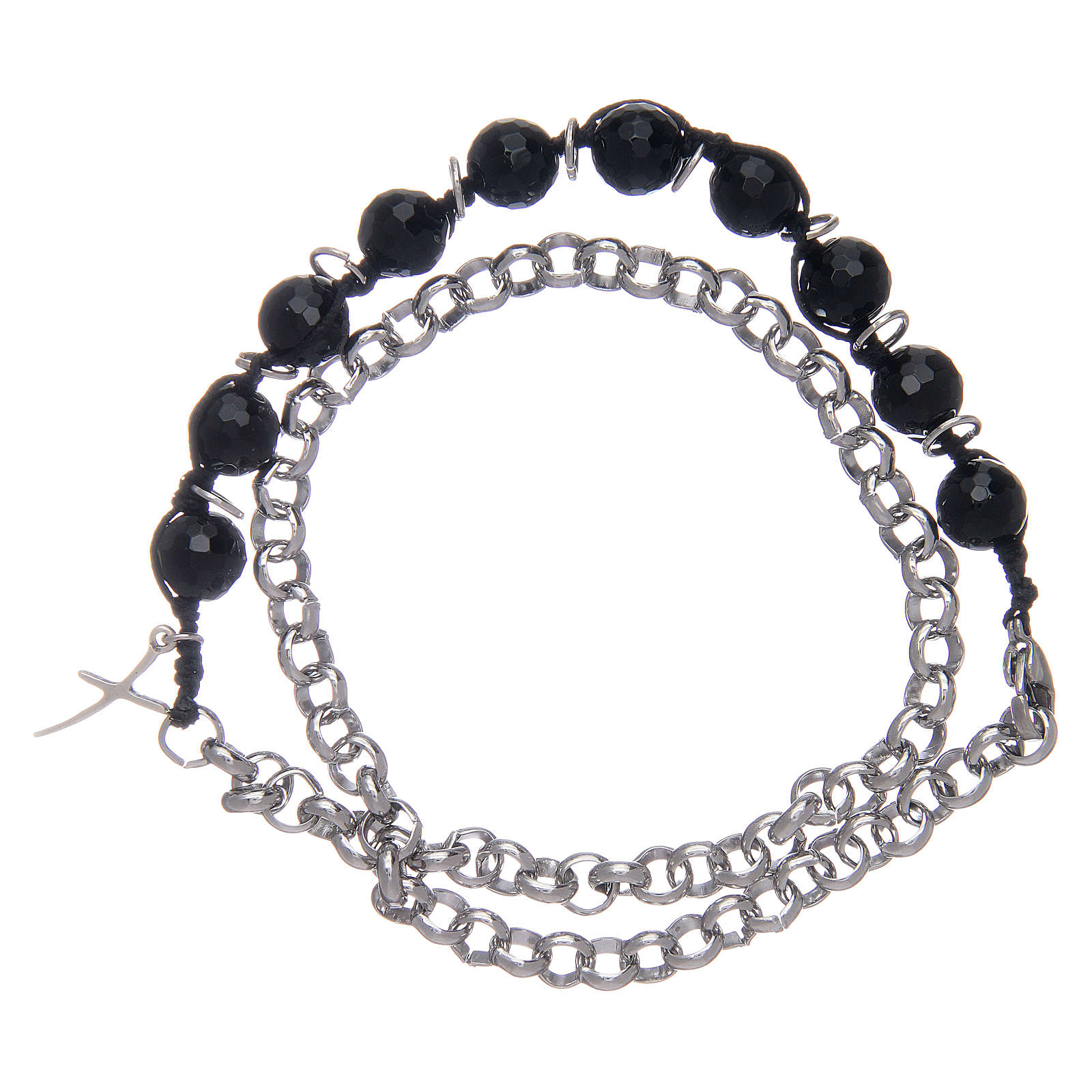 Dozen bracelet with onyx grains 8 mm and cross 4