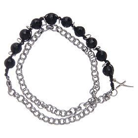 Dozen bracelet with onyx grains 8 mm and cross s2