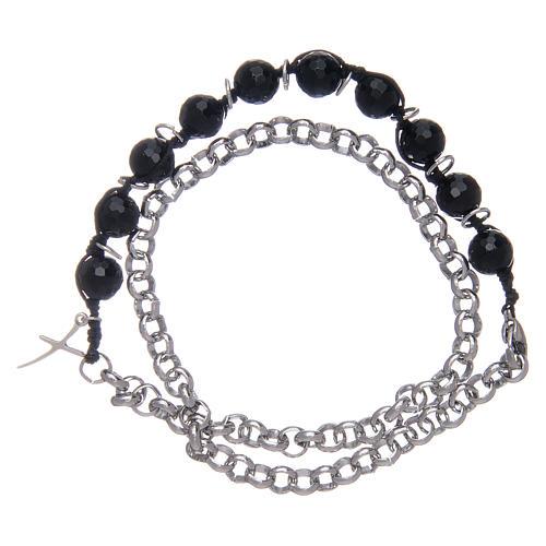Dozen bracelet with onyx grains 8 mm and cross 1