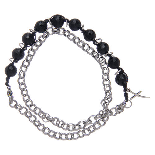 Dozen bracelet with onyx grains 8 mm and cross 2