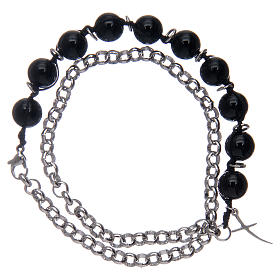 Dozen bracelet with black onyx grains and cross s1
