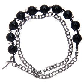 Dozen bracelet with black onyx grains and cross s2