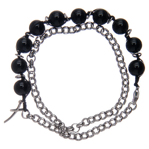 Dozen bracelet with black onyx grains and cross 2
