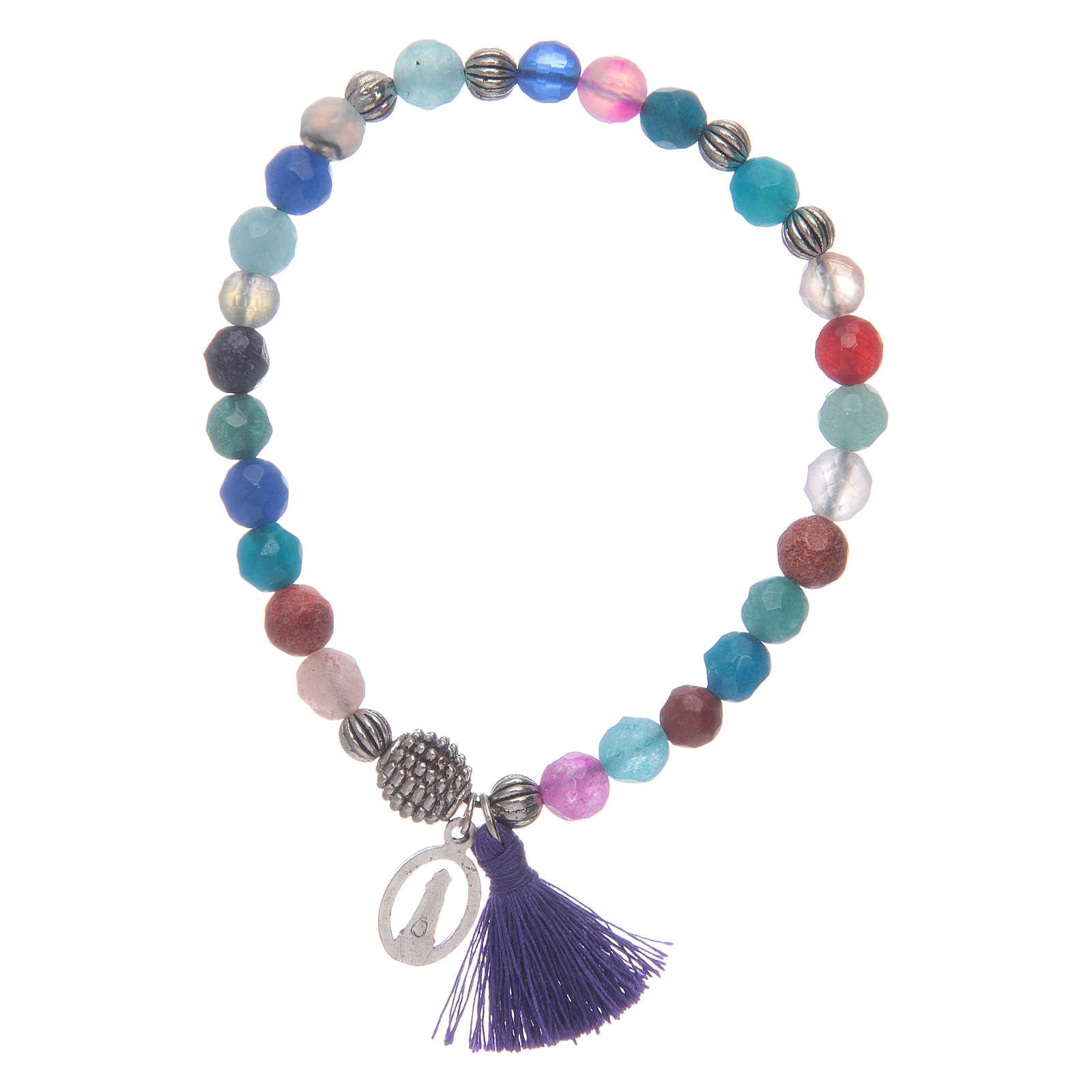 Bracciale Madonna Loreto con grani multicolore 4