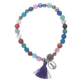 Bracciale Madonna Loreto con grani multicolore s1