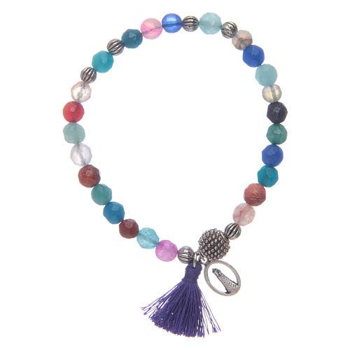 Bracciale Madonna Loreto con grani multicolore 1