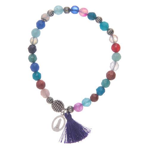 Bracciale Madonna Loreto con grani multicolore 2