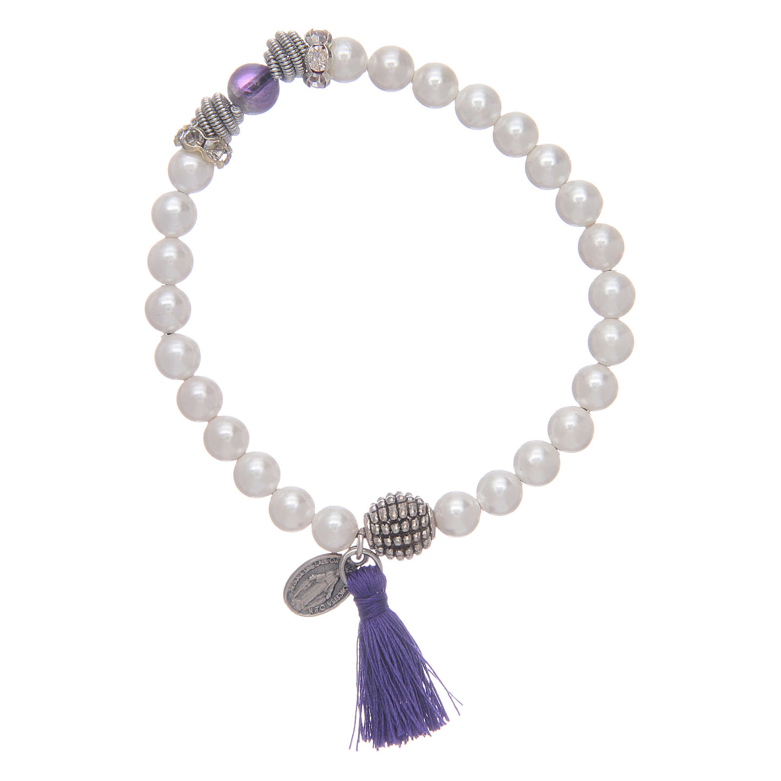 Bracelet with Miraculous medal and mother of pearl grains 4