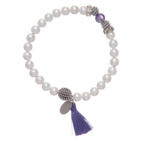 Bracelet with Miraculous medal and mother of pearl grains 2