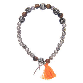 Bracelet with cross and tiger eye grains s2