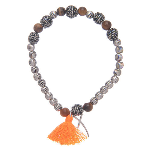 Bracelet with cross and tiger eye grains 1
