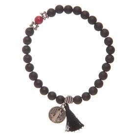 Bracelet élastique médaille St Benoît avec grains onyx noir s1