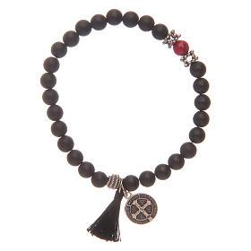 Bracelet élastique médaille St Benoît avec grains onyx noir s2