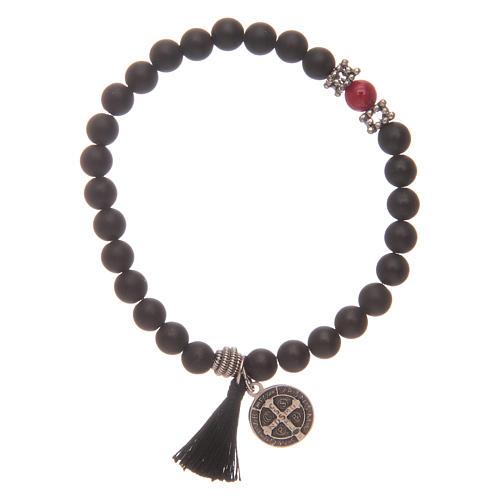 Bracelet élastique médaille St Benoît avec grains onyx noir 2