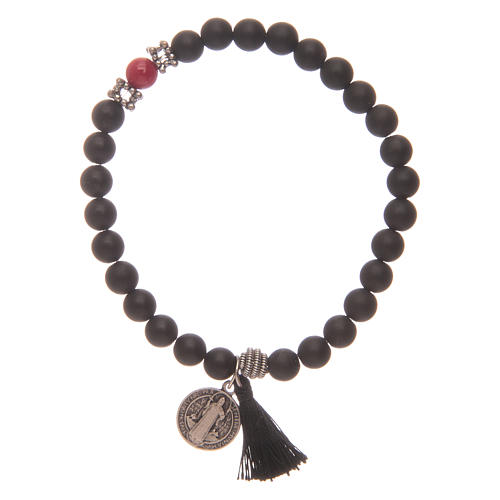Elastic bracelet with Saint Benedict medal and black onyx grains 1
