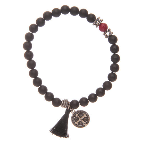 Elastic bracelet with Saint Benedict medal and black onyx grains 2