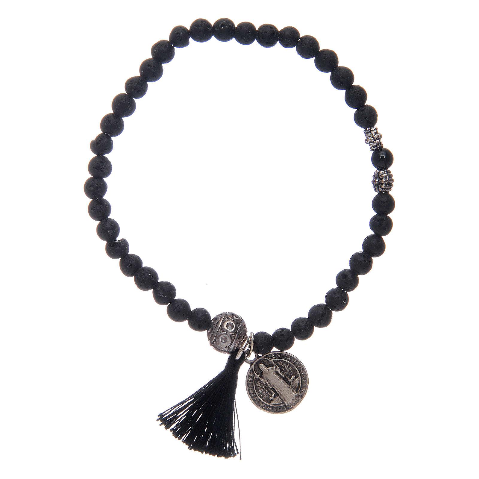 Bracelet élastique médaille St Benoît avec grains 4 mm onyx 4