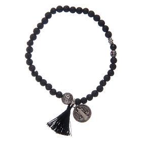 Bracelet élastique médaille St Benoît avec grains 4 mm onyx s1
