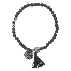 Bracelet élastique médaille St Benoît avec grains 4 mm onyx s2