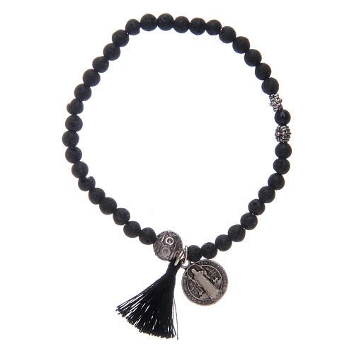 Bracelet élastique médaille St Benoît avec grains 4 mm onyx 1