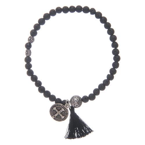Bracelet élastique médaille St Benoît avec grains 4 mm onyx 2