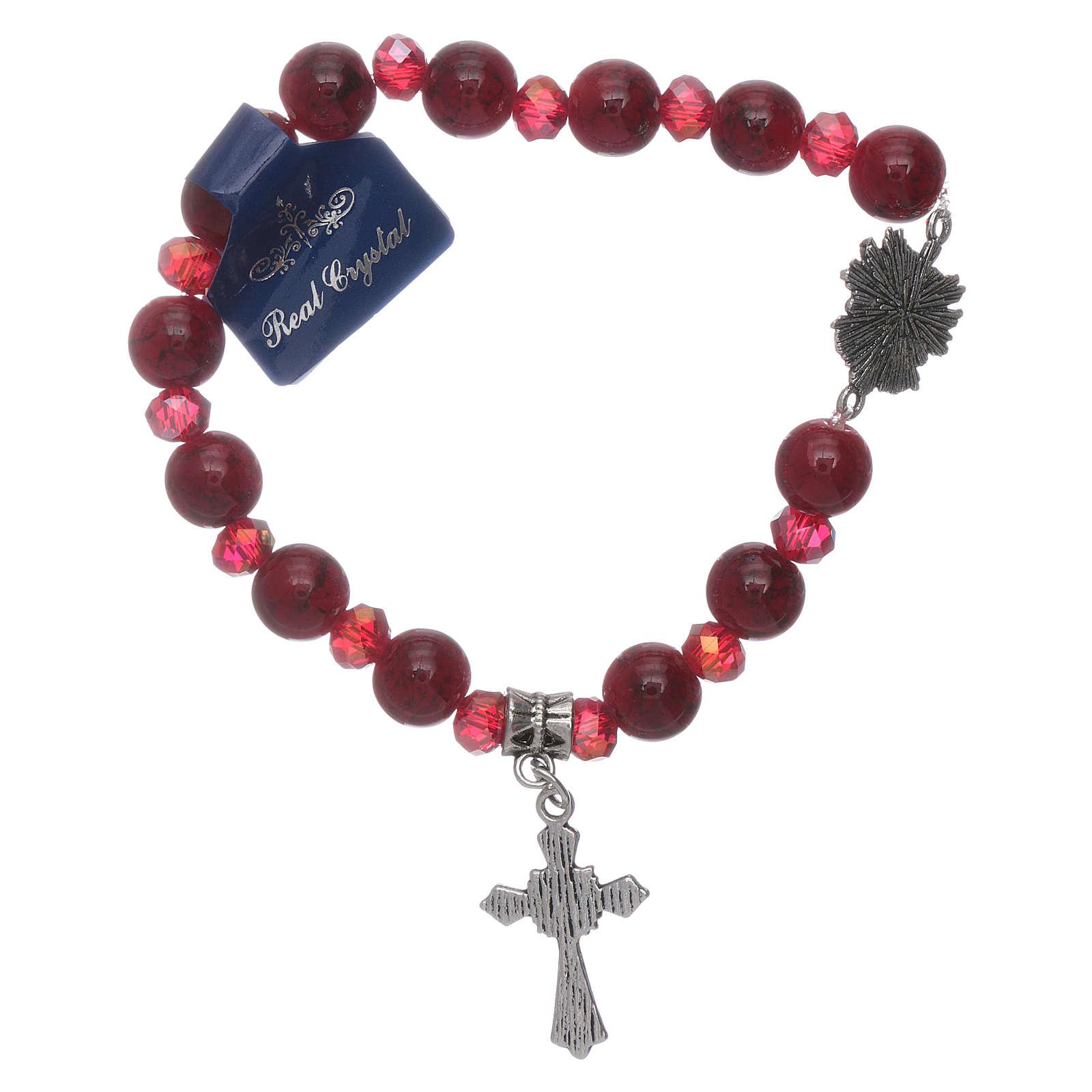 Bracelet Saint Esprit grains verre 8 mm et cristal rouge 4