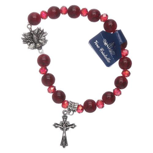 Bracelet Saint Esprit grains verre 8 mm et cristal rouge 1