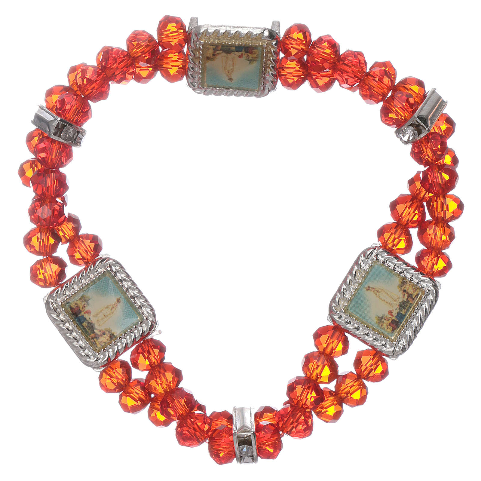Bracelet double turn with Fatima and red crystal grains 4