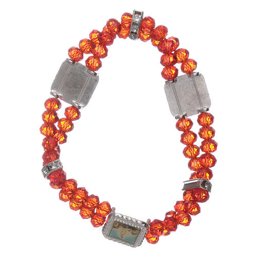 Bracelet double turn with Fatima and red crystal grains 2
