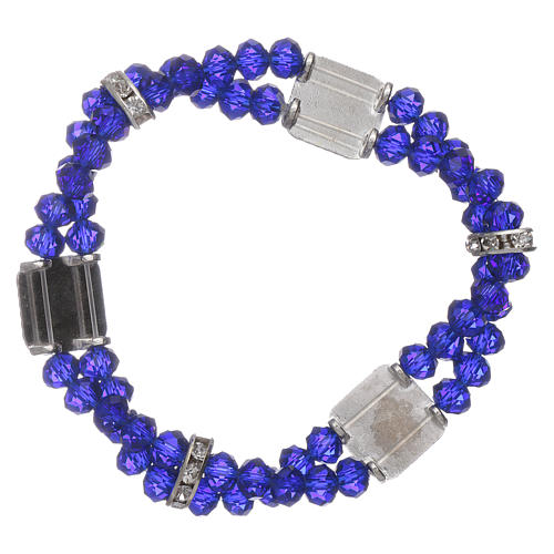 Bracelet Our Lady of Fatima with double blue crystal grains 2