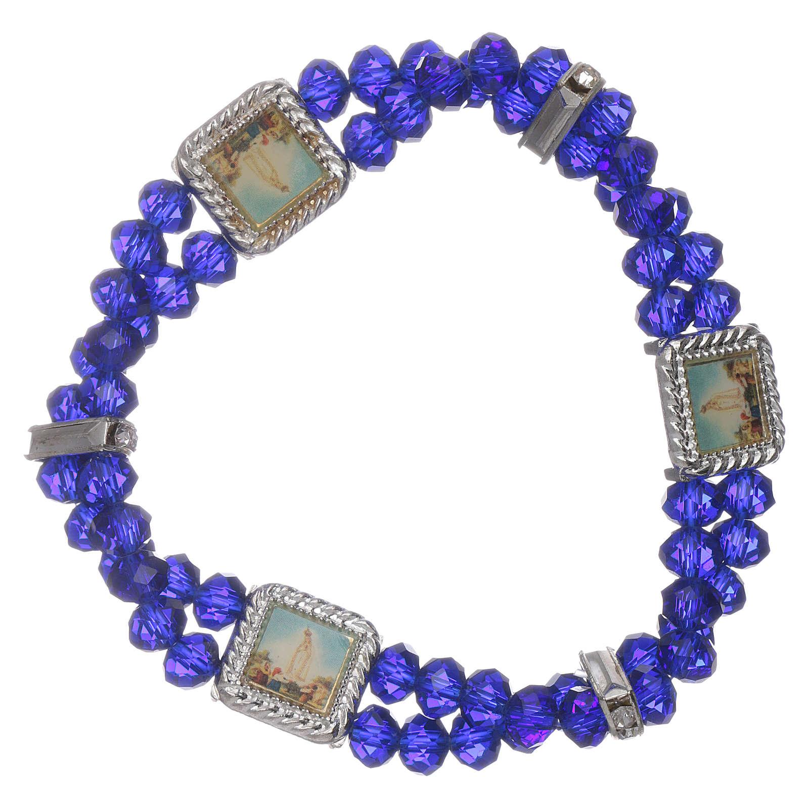 Bracciale Madonna Fatima con grani cristallo blu a doppio 4