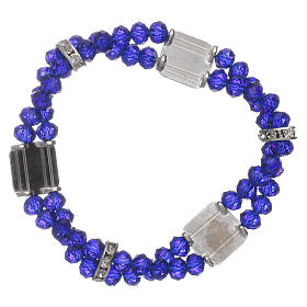 Bracciale Madonna Fatima con grani cristallo blu a doppio s2