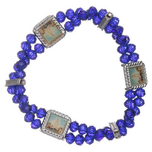 Bracciale Madonna Fatima con grani cristallo blu a doppio 1